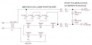 Meditec Start Board and HV Rectifying Diode Schematic
